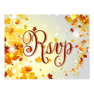 Colorful Fall Wedding RSVP Postcards Autumn Leaves