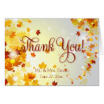 Colorful Fall Wedding Thank You Cards With Leaves