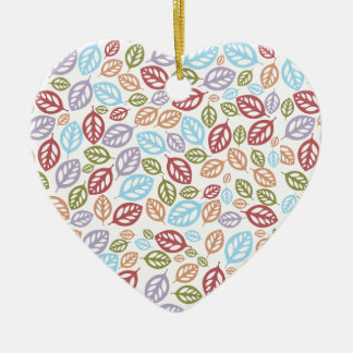 Colorful Fallen Leaves Ceramic Ornament