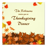 """Colorful Falling Leaves Thanksgiving Dinner Invite 5.25"""" Square Invitation Card"""