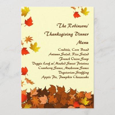 dinner menu card autumn falling leaves zazzlecom