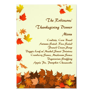 Colorful Falling Leaves Thanksgiving Dinner Menu 5x7 Paper Invitation Card