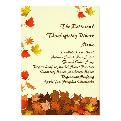 Colorful Falling Leaves Thanksgiving Dinner Menu Custom Invite