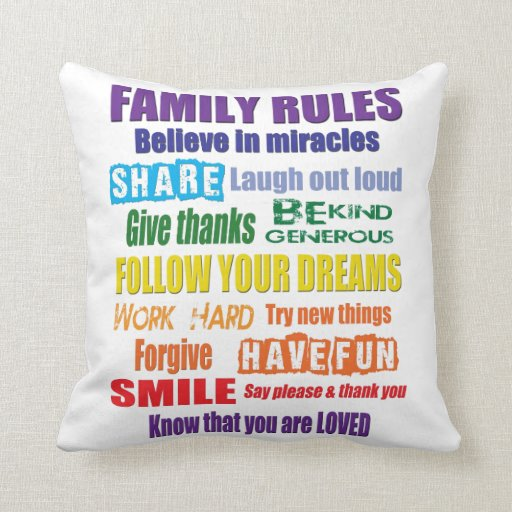 Colorful Family Rules Throw Pillow Zazzle