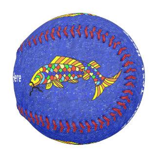 Colorful Fancy Abstract Fish Baseball