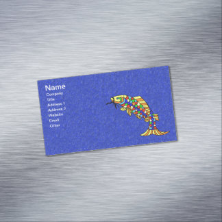 Colorful Fancy Abstract Fish Business Card Magnet