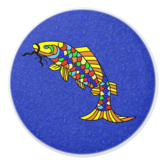 Colorful Fancy Abstract Fish Ceramic Knob
