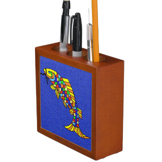 Colorful Fancy Abstract Fish Desk Organizer