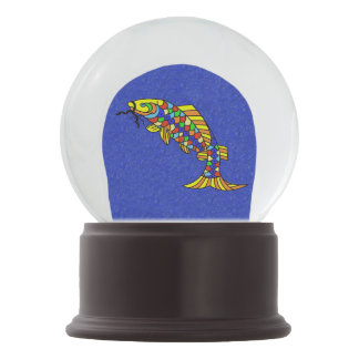 Colorful Fancy Abstract Fish Snow Globe
