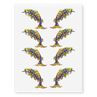 Colorful Fancy Abstract Fish Temporary Tattoos