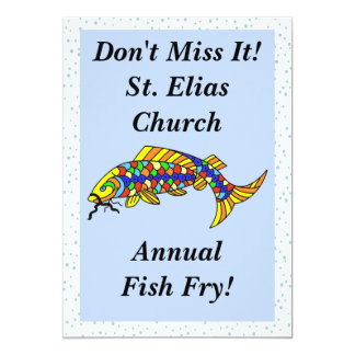 Colorful Fancy Fish Fry 5x7 Paper Invitation Card