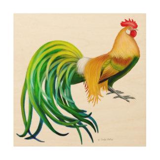 Colorful Fancy Phoenix Rooster Wood Wall Art