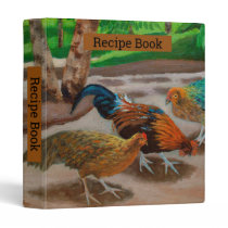 Colorful Fancy Rooster & Chickens 3 Ring Binder