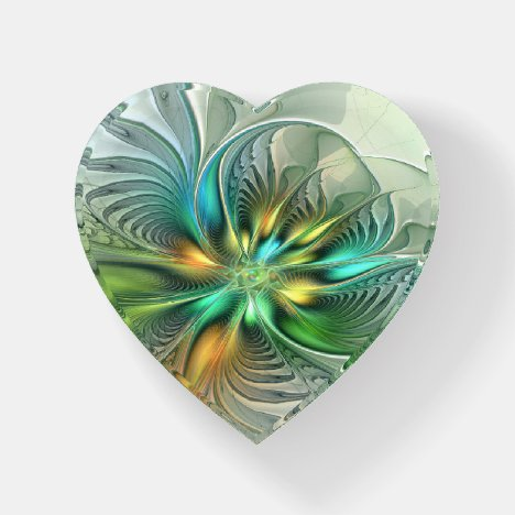 Colorful Fantasy Abstract Flower Fractal Art Heart Paperweight