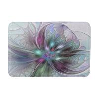 Colorful Fantasy Abstract Modern Fractal Flower Bathroom Mat
