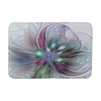 Colorful Fantasy Abstract Modern Fractal Flower Bathroom Mat