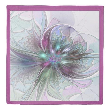 Colorful Fantasy Abstract Modern Fractal Flower Duvet Cover