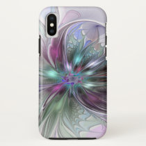 Colorful Fantasy Abstract Modern Fractal Flower iPhone X Case