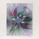 Colorful Fantasy Abstract Modern Fractal Flower Jigsaw Puzzle