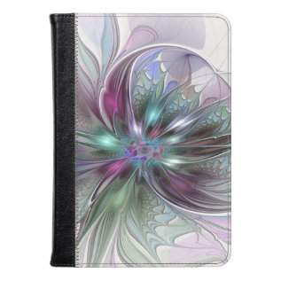 Colorful Fantasy Abstract Modern Fractal Flower Kindle Case at Zazzle