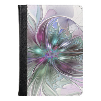 Colorful Fantasy Abstract Modern Fractal Flower Kindle Case
