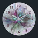 """Colorful Fantasy Abstract Modern Fractal Flower Large Clock<br><div class=""""desc"""">Colorful and magical. Design for your wall clock and for many other things.</div>"""