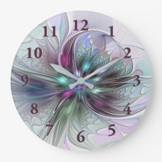 Colorful Fantasy Abstract Modern Fractal Flower Large Clock