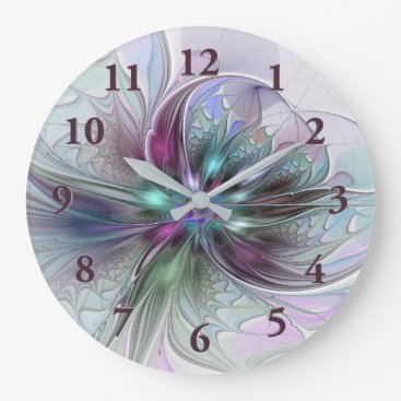 GabiwArt Colorful Fantasy Abstract Modern Fractal Flower Large Clock