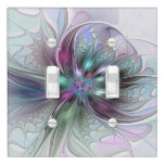 Colorful Fantasy Abstract Modern Fractal Flower Light Switch Cover