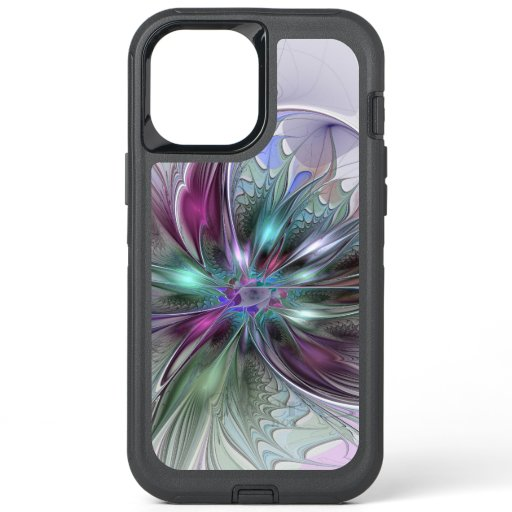 Colorful Fantasy Abstract Modern Fractal Flower OtterBox Defender iPhone 12 Pro Max Case