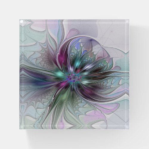 Colorful Fantasy Abstract Modern Fractal Flower Paperweight