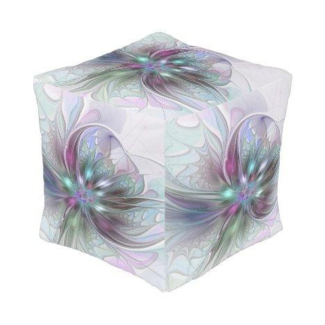 Colorful Fantasy Abstract Modern Fractal Flower Pouf