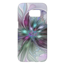 Colorful Fantasy Abstract Modern Fractal Flower Samsung Galaxy S7 Case
