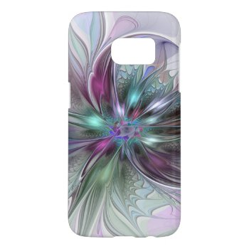Colorful Fantasy Abstract Modern Fractal Flower Samsung Galaxy S7 Case by GabiwArt at Zazzle