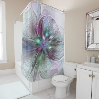 Colorful Fantasy Abstract Modern Fractal Flower Shower Curtain