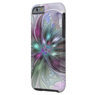 Colorful Fantasy Abstract Modern Fractal Flower Tough iPhone 6 Case