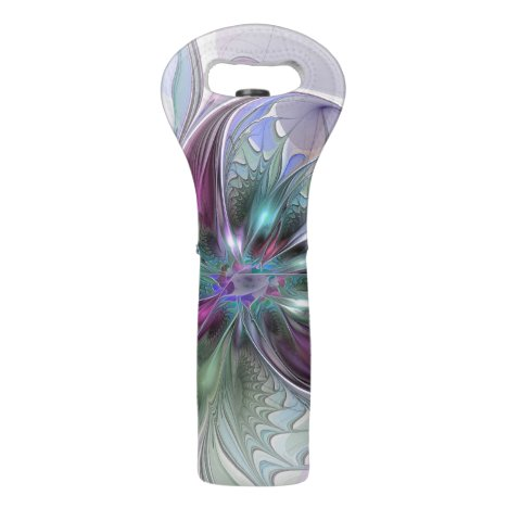 Colorful Fantasy Abstract Modern Fractal Flower Wine Bag