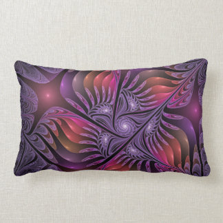 Colorful Fantasy Abstract Modern Purple Fractal Lumbar Pillow