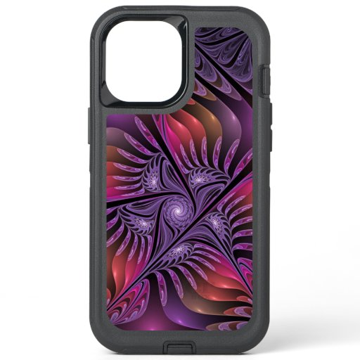 Colorful Fantasy Abstract Modern Purple Fractal OtterBox Defender iPhone 12 Pro Max Case