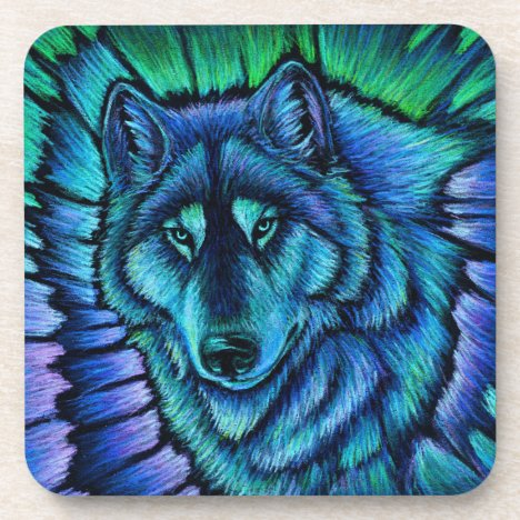 Colorful Fantasy Blue Wolf Aurora Plastic Coasters