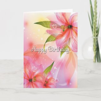 Colorful Fantasy Flowers Birthday Card