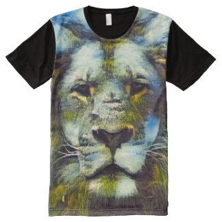Colorful Fantasy Lion Acrylic Paint All-Over-Print Shirt