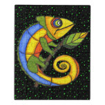 Colorful Fantasy Lizard holding Twig Leaf Dots Jigsaw Puzzle