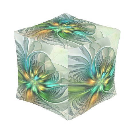 Colorful Fantasy Modern Abstract Flower Fractal Pouf