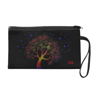 Colorful Fantasy Tree and Stars Customizable Wristlet Purse