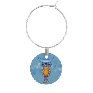 Colorful Fantasy Whimsical Owl Wine Glass Charm