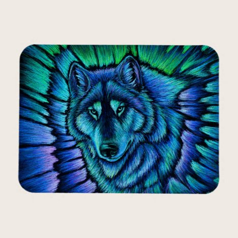 Colorful Fantasy Wolf Aurora Flexible Magnet