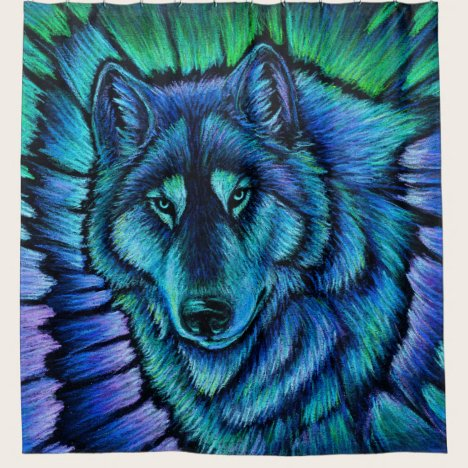 Colorful Fantasy Wolf Aurora Shower Curtain
