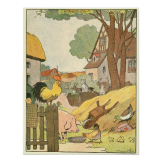 Colorful Farm Animals Illustrated Print