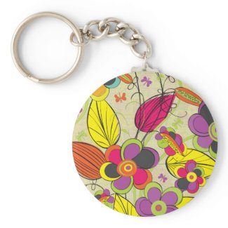Colorful Fashion Floral Design keychain